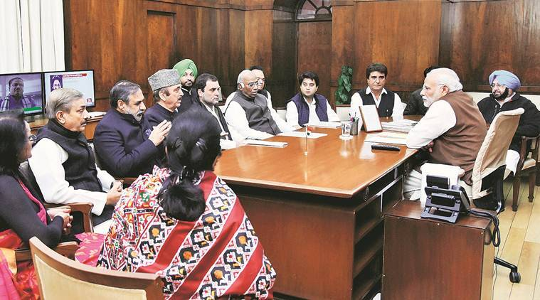 New Delhi: Prime Minister Narendra Modi meeting with a delegation of Congress leaders led by party vice president Rahul Gandhi in New Delhi on Friday. PTI Photo / PIB (PTI12_16_2016_000080B)
