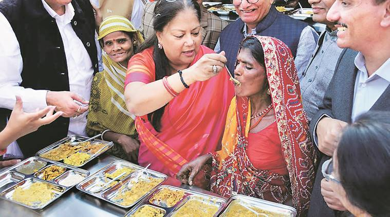 new food scheme, rajasthan food scheme, Vasundhara Raje, Vasundhara Raje food scheme, vasundhara raje cheap food, rajashtan cheap food, annapurma rasois, subsidised meal scheme, rajasthan subsidised meal, rajasthan government, indian express news, india news