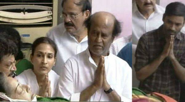 Rajinikanth and Dhanush pay their last respects to Tamil Nadu Chief Minister Jayalalithaa