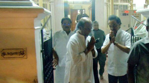 Superstar Rajinikanth meets Karunanidhi. Photo courtesy: Twitter
