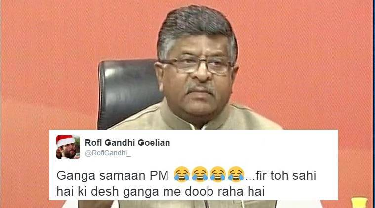 Ravi Shankar Prasad said Prime Minister Narendra Modi is as pure as Ganga