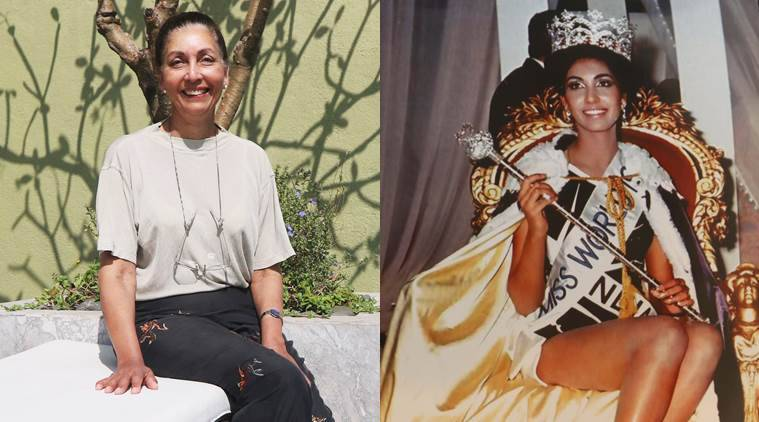 Top of the world: (Left) Reita Faria on a recent visit to Mumbai; and the night she was crowned Miss World.