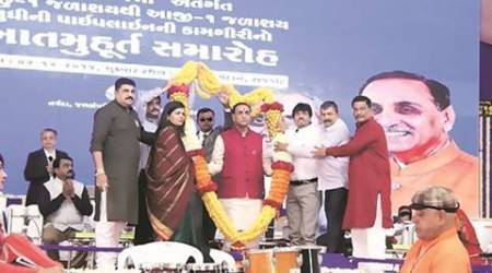 Gujarat CM Vijay Rupani lays foundation stone of pipeline to pump water from Narmada to Aji dam