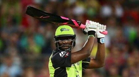 Andre Russell, Andre Russell bat, russell bat, Andre Russell black bat, Andre Russell black and pink bat, big bash league, bbl, sydney thunder, sydney sixers, cricket news, sports news