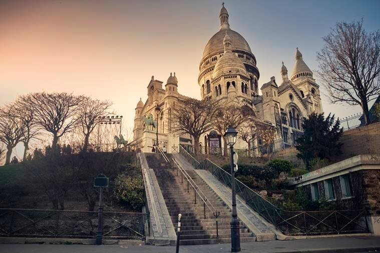 Sacre Coeur Basilica on Montmartre Hill in Paris, France