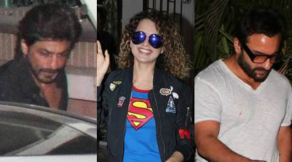 Spotted: Shah Rukh Khan, Kangana Ranaut and Saif Ali Khan in Mumbai