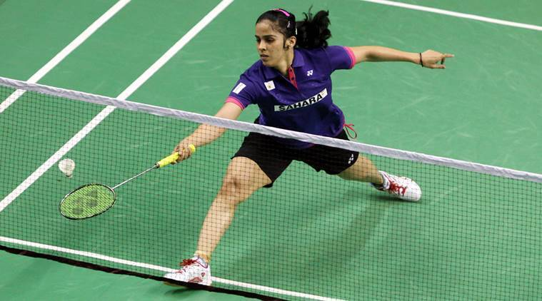 Indian Top Shuttler Saina Nehwal in action on second day of Syed Modi International Badminton Championship at BBD Stadium in Lucknow on Thursday. Express Photo by Javed Raja. 22.01.2015.