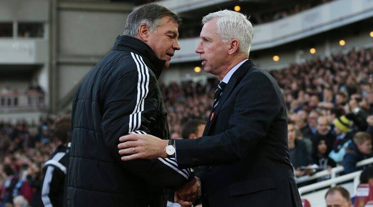 West Ham United manager Sam Allardyce (L) and Newcastle United manager Alan Pardew