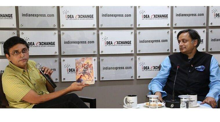 Lok Sabha MP Shashi Tharoor (right) with Associate Editor Pratik Kanjilal at The Indian Express office. Renuka Puri