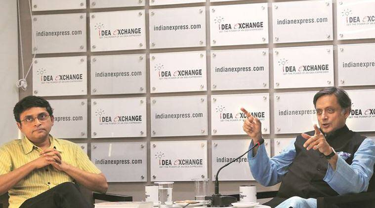 Lok Sabha MP Shashi Tharoor (right) with Associate Editor Pratik Kanjilal at The Indian Express office. Renuka Puri