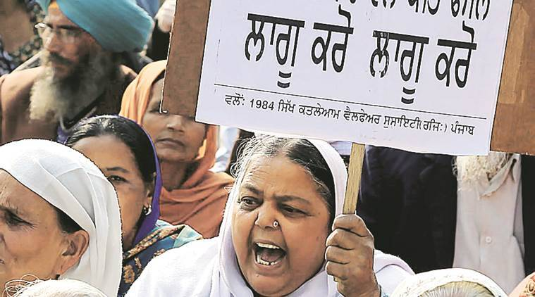 Members of riot victims stage a dharna on Chandigarh border on Tuesday. Jasbir Malhi