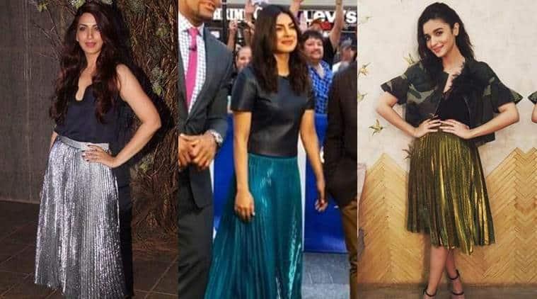 Sonali Bendre (L), Priyanka Chopra (C) and Alia Bhatt, adding some shine to their look. (Source: Instagram/afashionistasdiarie, Priyanka Chopra and Ami Patel)