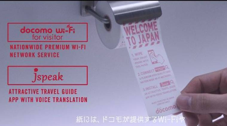 japan, smartphone toilet paper, japan airport smartphone toilet paper, japan toilet smartphone cleaner,Narita international airport, NTT Docomo, ntt docomo smartphone toilet paper, smartphone toilet papaer japan, japan news, bizarre news, latest news, indian express
