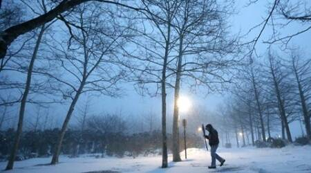 US snow, Northeastern US cold winds, cold winds US, US winter, US climate, US temperature, world news, latest news, indian express