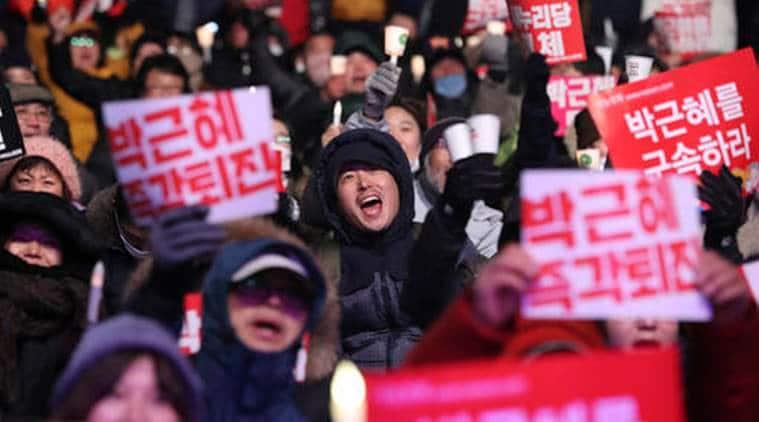 Park Geun-Hye, Park Geun-Hye impeachment, South Korea political situation, South Korea politics, rally against Park, Seoul, Prime Minister Hwang Kyo-ahn, world news, indian express news