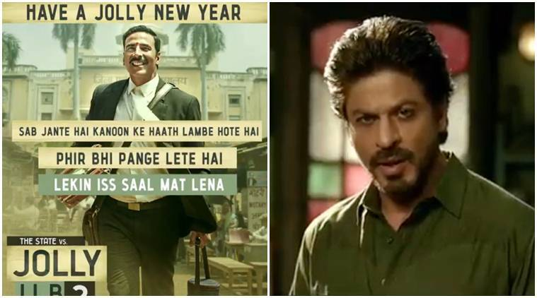 akshay kumar drink and drive, shah rukh khan drink and drive warning, akshay new year wish, shah rukh new year wish, srk new year wish, shahrukh tweet for fans, akshay twitter, akshay social message, srk social message, shahrukh raees promotions, akshay jolly llb 2 promotions, akshay kumar jolly llb 2, movie promotions, jolly llb 2, raees, akshay kumar news, shahrukh khan news, srk, bollywood news, bollywood updates, entertainment news, indian express news, indian express