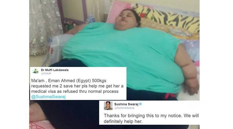 sushma swaraj, sushma swaraj tweet, sushma swaraj helps on twitter, sushma swaraj hospital, sushma swaraj world's heaviest woman, sushma swaraj egyptian woman 500kg, egyptian woman 500kg, egyptian woman 500kg medical treatment, egyptian woman 500kg visa granted, indian express, indian epxress news
