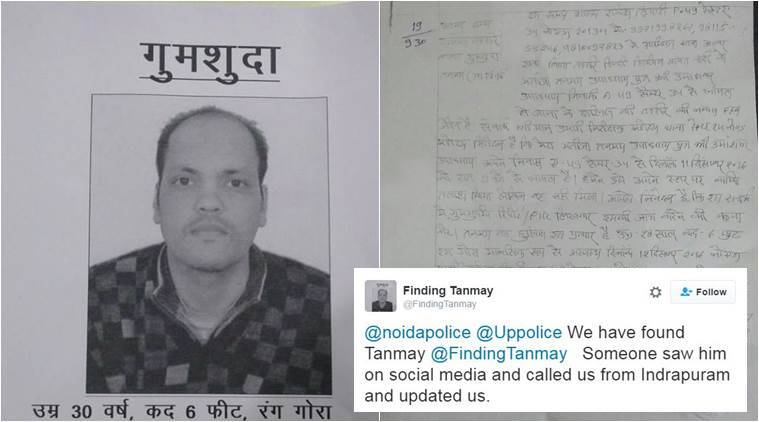 Tanmay Upadhyay was found after someone spotted the tweets on social media