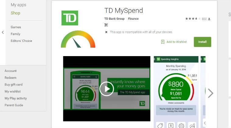 banking apps, apps, MySpend app, Toronto Dominion Bank, money management apps, mobile banking app, td MySpend app, online transactions, smartphones, technology, technology news