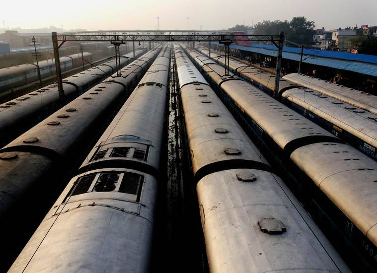 A row of trains waiting at the Old Delhi Railway Station. (Source: Express photo by Praveen Khanna)