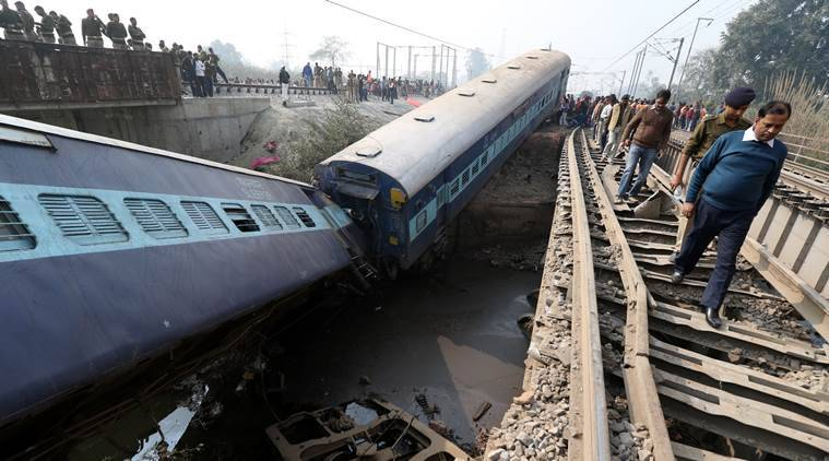 Rescue and relief works in progress at the site of accident where Sealdah-Ajmer Express train derailed early morning near Rura railway station in Kanpur Dehat district on Wednesday. (Source: Express photo by Vishal Srivastav)