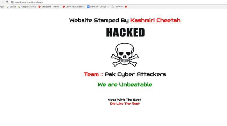 Thiruvananthapuram airport, Thiruvananthapuram airport website hacked, pakistani group hacking, pakistani hackers, hacking, website hacked, india news, latest news, indian express