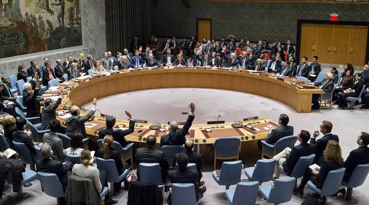In this photo provided by the United Nations, members of the United Nations Security council vote at the United Nations headquarters on Friday, Dec. 23, 2016, in favor of condemning Israel for its practice of establishing settlements in the West Bank and east Jerusalem. In a striking rupture with past practice, the U.S. allowed the vote, not exercising its veto. (Manuel Elias/The United Nations via AP)