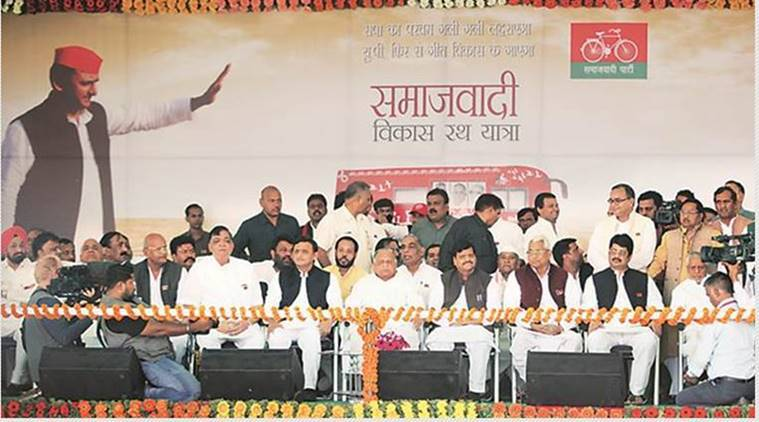 Mulayam Singh Yadav, Shivpal Yadav and Akhilesh Yadav at the flagging off ceremony of the Vikas Rath Yatra. Vishal Srivastav