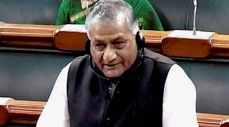 union minister of state for external affairs general v k singh, general v k singh, v k singh, union mos, mos, union cabinet, terrorism, terrorists, counter-terrorism, united nations, un, india, burhan wani, millitant, millitants, indian express news