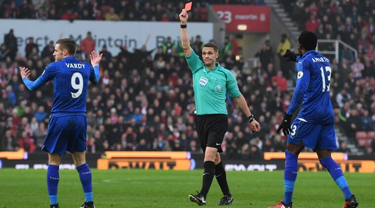 Jamie Vardy, Jamie Vardy three match ban, Jamie Vardy premier league ban, Vardy red card, Leicester City, premier league, Claudio Raneiri, epl, premier league, english football, english bstriker, indian express news