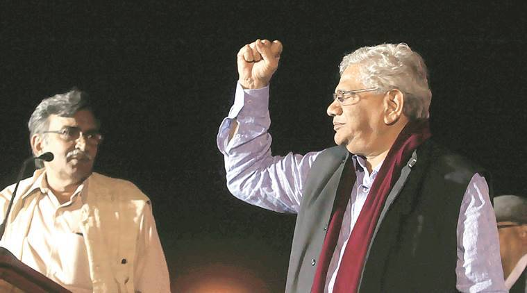 Sitaram Yechury and  Surjya Kanta Mishra at Sahid Minar  ground in Kolkata.  Partha Paul