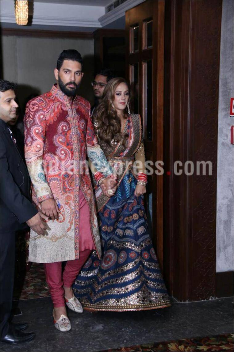 Yuvraj Singh and Hazel Keech in JJ Valaya couture. (Source: APH Images)