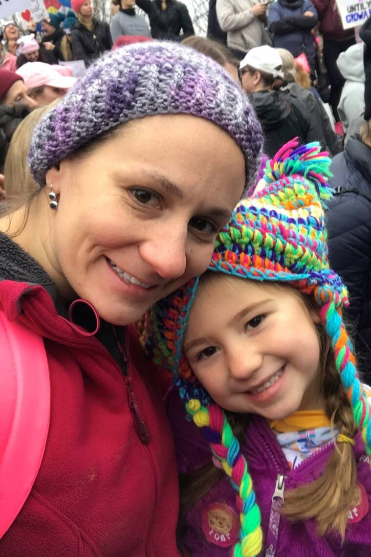 Heather Kennedy with her daughter Caitlin at the march in Baltimore.