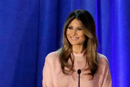 FILE - In this Nov. 3, 2016 file photo, Melania Trump, wife of then-Republican presidential candidate Donald Trump, speaks in Berwyn, Pa. People across the globe are always fascinated by what the incoming U.S. first lady is wearing to the inauguration. This time, as never before, the question is interlaced with politics, as designers have publicly grappled with the question of whether they would dress Melania Trump. (AP Photo/Patrick Semansky, File)