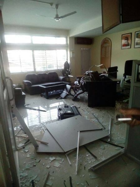 Upset at non induction of a ministerial aspirant, BJP office was ransacked by unidentified persons.
