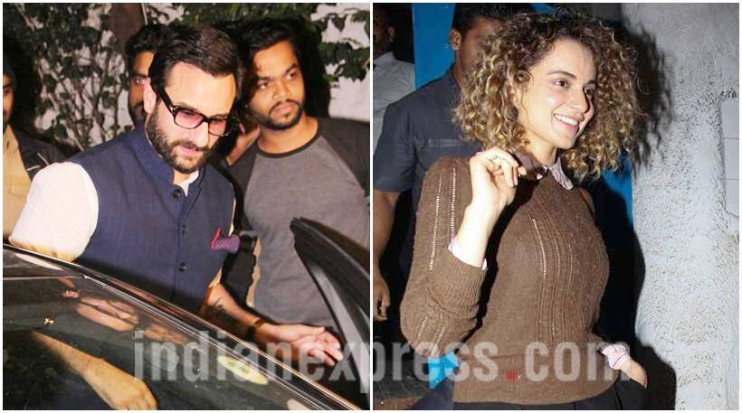 rangoon, rangoon special screening, saif ali khan, kangana ranaut