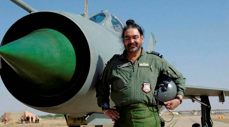 Barmer : Chief of the Air Staff, Air Chief Marshal BS Dhanoa after a MiG-21 sortie at the Forward Base in Barmer, Rajasthan on Thursday. PTI Photo (PTI1_12_2017_000210A)