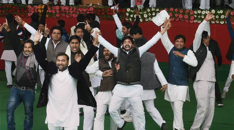 Lucknow : SP workers celebrate after UP Chief Minister Akhilesh Yadav elected party's national president unanimously during Samajwadi party national convention in Lucknow on Sunday. PTI Photo by Nand Kumar(PTI1_1_2017_000103B)