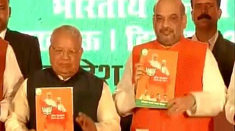 amit shah, up polls, bjp's up poll manifesto, poll manifesto, ram temple, Lok Kalyan Sankalp Patra, up elections, up assembly elections 2017, india news, latest news