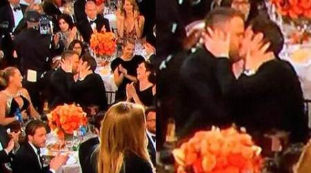 Golden Globes 2017 pic that you didn't see on TV: Ryan Reynolds, Andrew Garfield's impromptu kiss