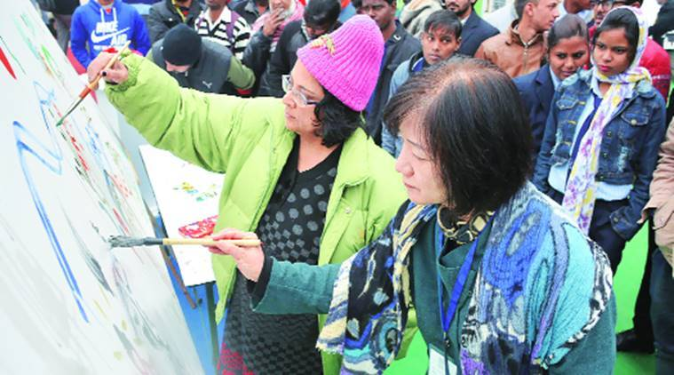 Chandigarh art exhibition, artists in Chandigarh, artists assemble in Chandigarh, Chandigarh painting workshop, Seoul National University, indian express news