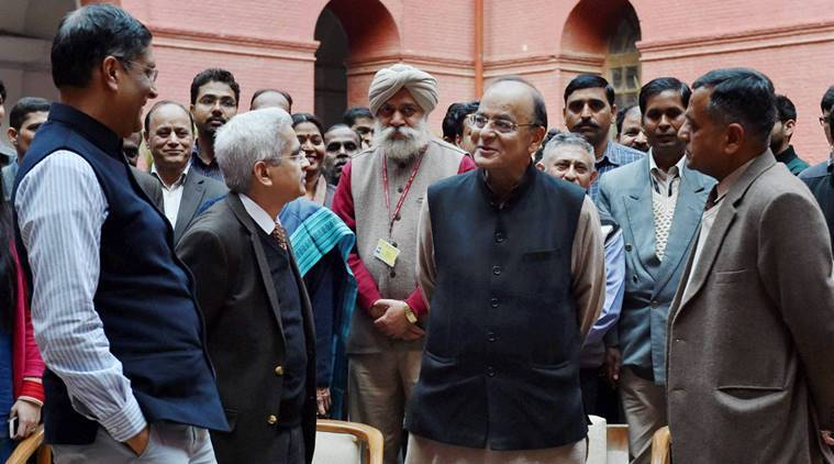 New Delhi : Union Finance Minister, Arun Jaitley with Chief Economic Adviser Arvind Subramanian, Economic Affairs Secretary Shaktikanta Das (2nd L) at North Block in New Delhi on Monday. Finance Minister Jaitley will table Economic Survey 2017 in Parliament on Tuesday. PTI Photo by Vijay Verma (PTI1_30_2017_000149A)