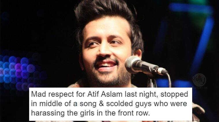 atif aslam, atif aslam concert, atif aslam scolds guys, atif aslam scolds guys teasing woman, atif aslam teasing woman, atif aslam scolds men, indian express, indian express news, reactions