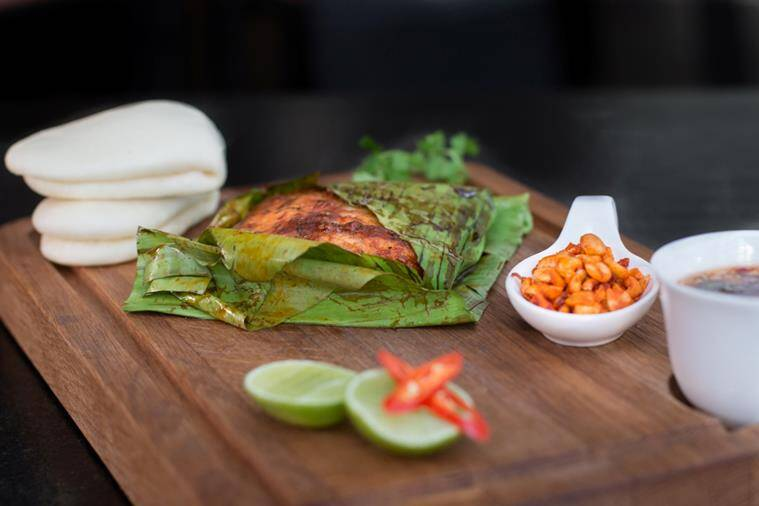 Relish Banana Leaf wrapped Grilled Red Snapper at SingKong.