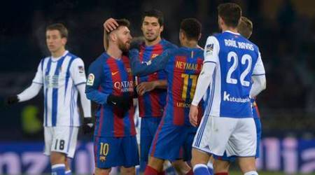 Football Soccer - Real Sociedad v Barcelona - Spanish King's Cup - Anoeta Stadium, San Sebastian, Spain - 19/01/17 Barcelona's Lionel Messi, Luis Suarez and Neymar react at the end of the match.    REUTERS/Vincent West