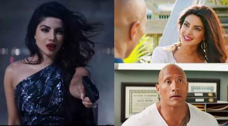 baywatch trailer, priyanka chopra, priyanka chopra baywatch trailer, peecee baywatch trailer, baywatch second trailer, dwayne johnson baywatch, dwayne johnson priyanka chopra baywatch trailer, priyanka chopra, entertainment news, indian express, indian express news