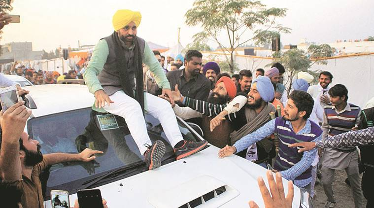 Bhagwant Mann plays for laughs while campaigning in Lambi on December 28. PTI