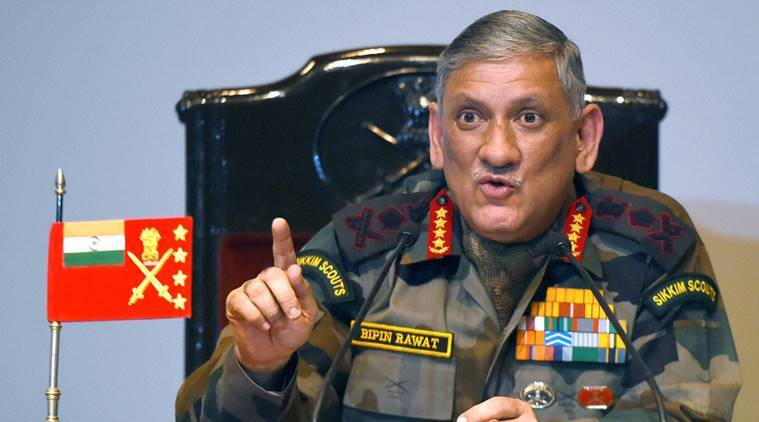 bipin rawat, army chief, army, kashmir, major gogoi