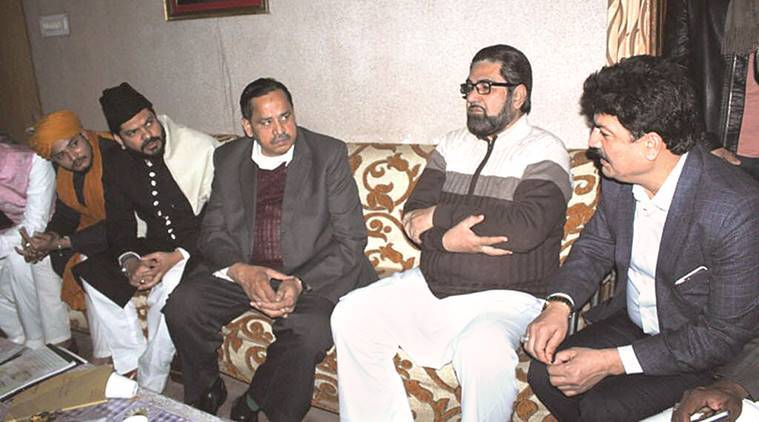 BSP's Naseemuddin Siddiqui with Shia cleric Kalbe Jawwad in Lucknow