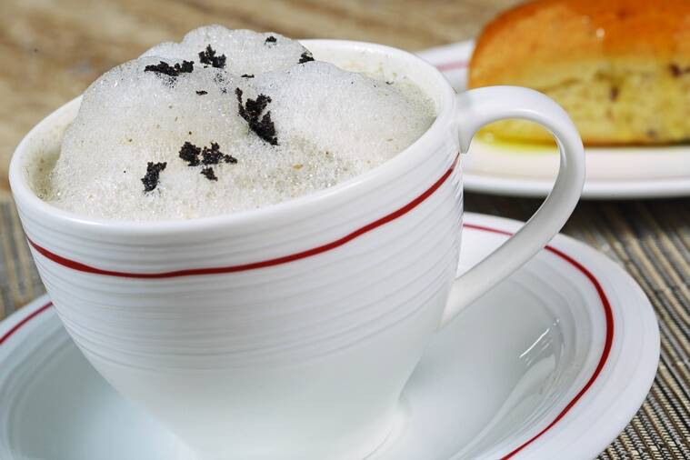 The Mushroom Cappuccino, a combination of three types of mushrooms and a drizzle of shaved olives, is a perfect melange of mushroom and cappuccino foam.